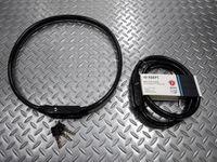 ADEPT レフロック 2409 サイズ/12×24mm デュアルフラットケーブル 重量/630g 本体価格¥3,000 2本のワイヤーを内蔵した質実剛健なケーブルに、夜間走行での安全性を高める反射テープを内蔵しまています。2面ディンプルキー3本 付属。 高い耐破断性により優れた盗難防止効果を発揮します。 反射テープを内蔵し、夜間の視認性を高めています。 襷掛けで車のライトに反射し、こちらの存在…[Posted at 16/04/18]